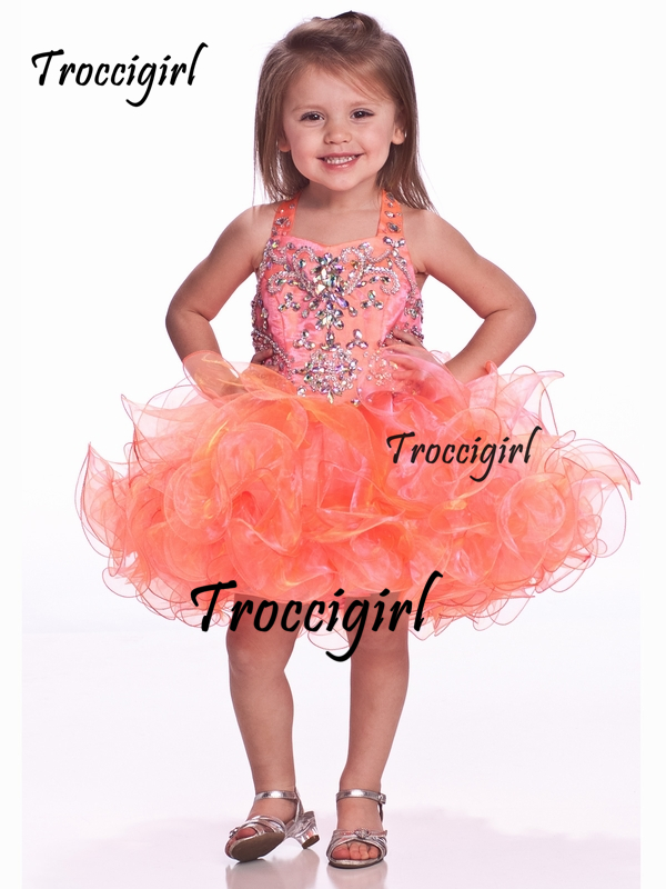 95 (1) Unique Fashion Ball Gown Flower Girl Dresses With V-Bodice Jeweled Short Pageant Dress For Girls  Zipper