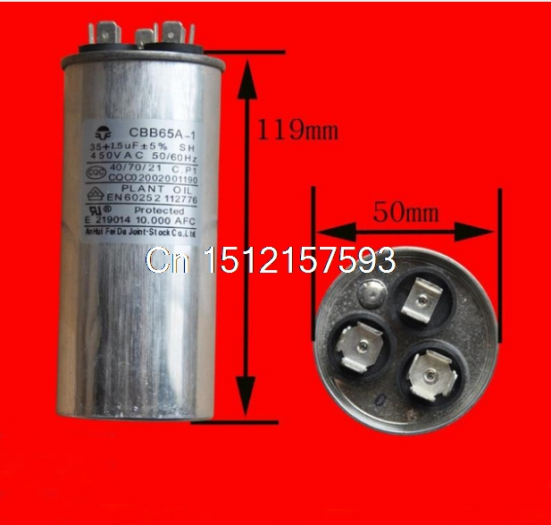 450VAC 1.5uF+35uF Motor Run Start Capacitor for Air Conditioner 35+1.5UF CBB65A-1 cbb65a explosion proof air conditioning compressor start capacitor 25uf30uf35uf40uf50uf60uf70uf80 450v