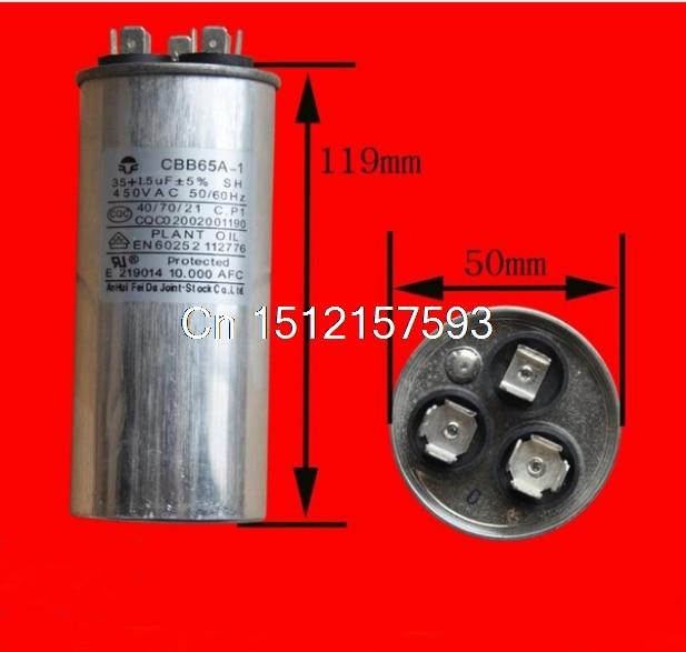 450VAC 1.5uF+35uF Motor Run Start Capacitor for Air Conditioner 35+1.5UF CBB65A-1 стоимость