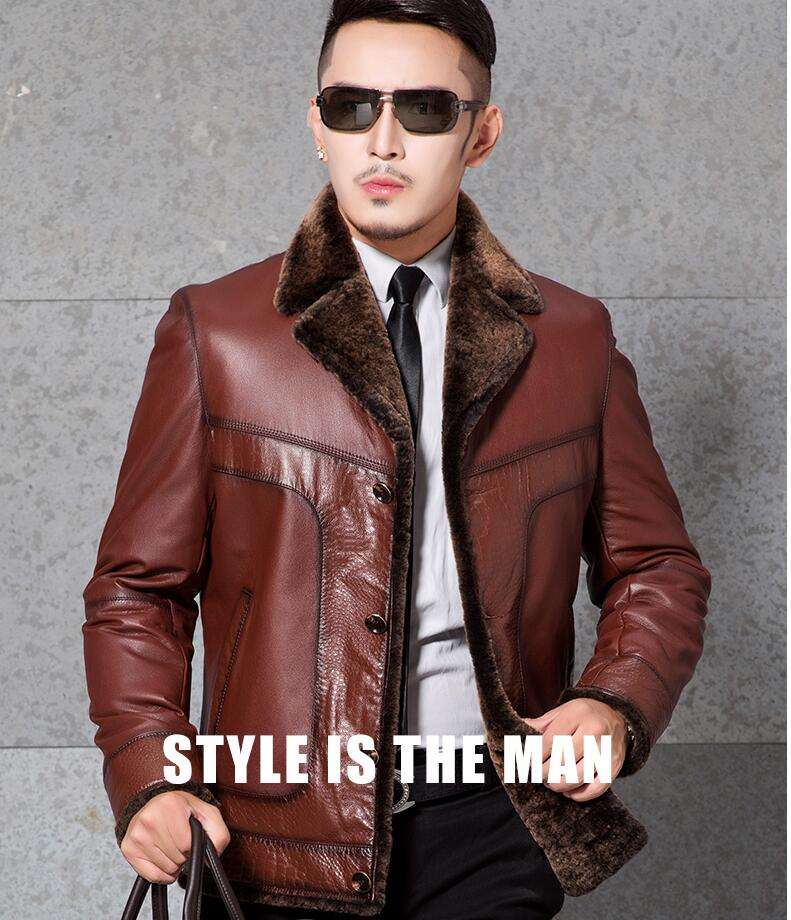 2018 New Men's Genuine Leather Winter Jacket First layer cowhide leather jacket Lamb fur lining Men fur Coat