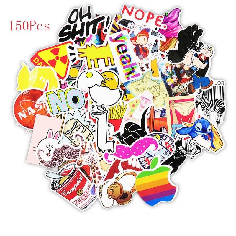 HAMISS 300pcs Mixed Cartoon Toy Stickers Doodling Travel DIY Cool Funny Waterproof Graffiti Sticker for Scrapbooking Refrigerator Suitcase Laptop Car Helmet Skateboard Luggage Graffiti Decals