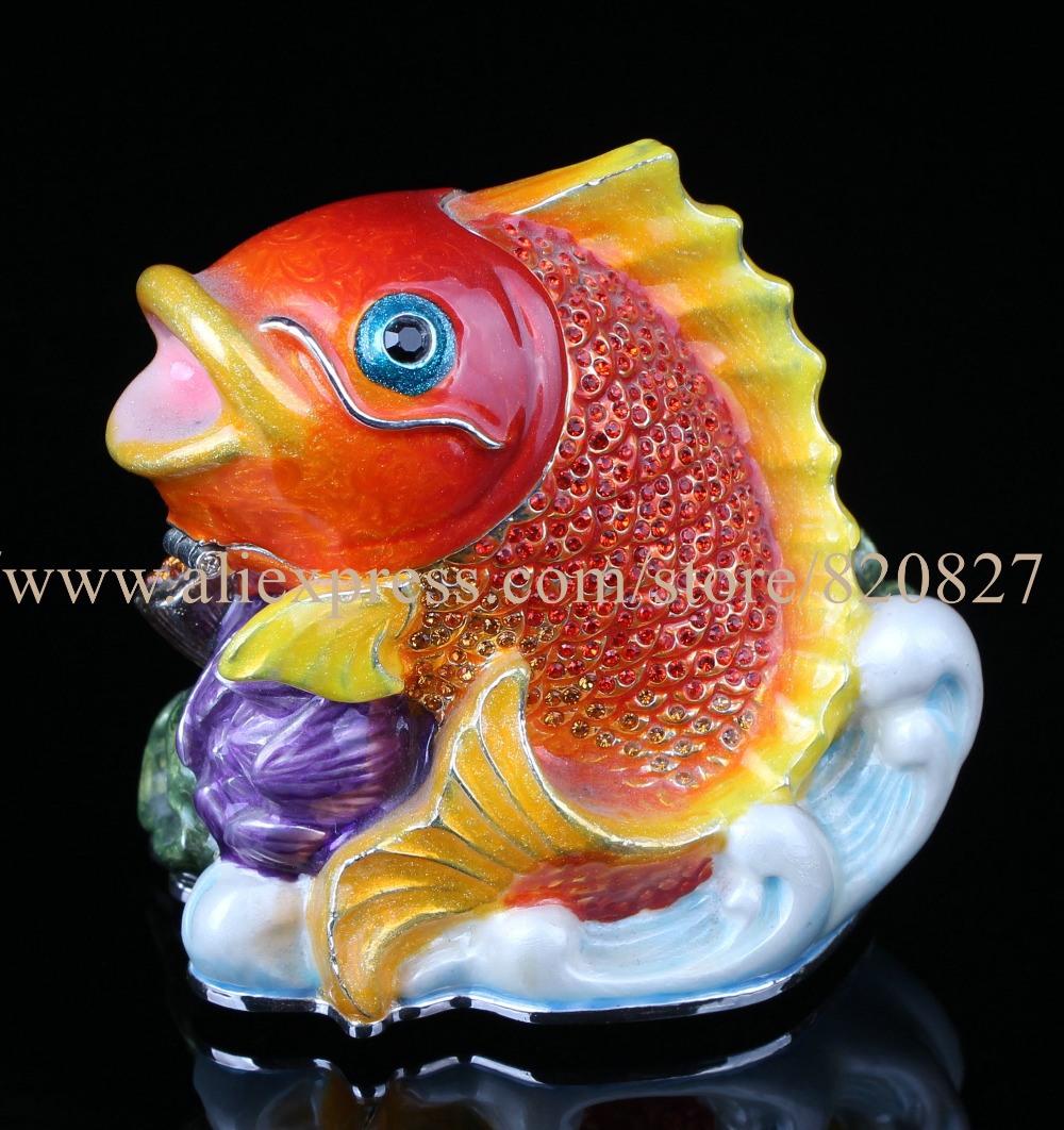 Collectible Fish Statues Crystal Fish enamel trinket box Fish Earring Jewelry Box Pewter and Enamel Nautical Ocean Animal Decor big handmade enamel fish shape promo gifts new cute jewelry box red fish box crystals jewelry box fish trinket box red