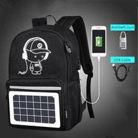 Reether 2018 Solar Powered Laptop Backpack USB Charging Port College School Bookbag Mochila Travel Backpack for Men and Women