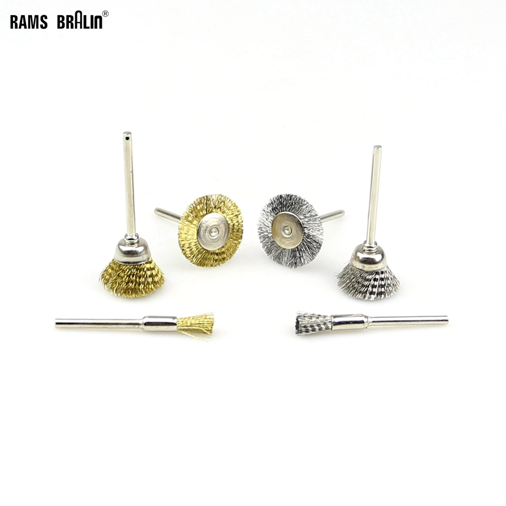 20 Pieces Mini Steel Wire Copper Wire Brush With 3 Mm Shank Dremel Die Grinder Rotary Tools