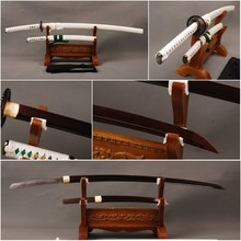 Excellent  Japanese Samurai Swords Set Folded Steel Blade Katana & Folded Steel Tanto Full Tang Sharp Japanese Knives