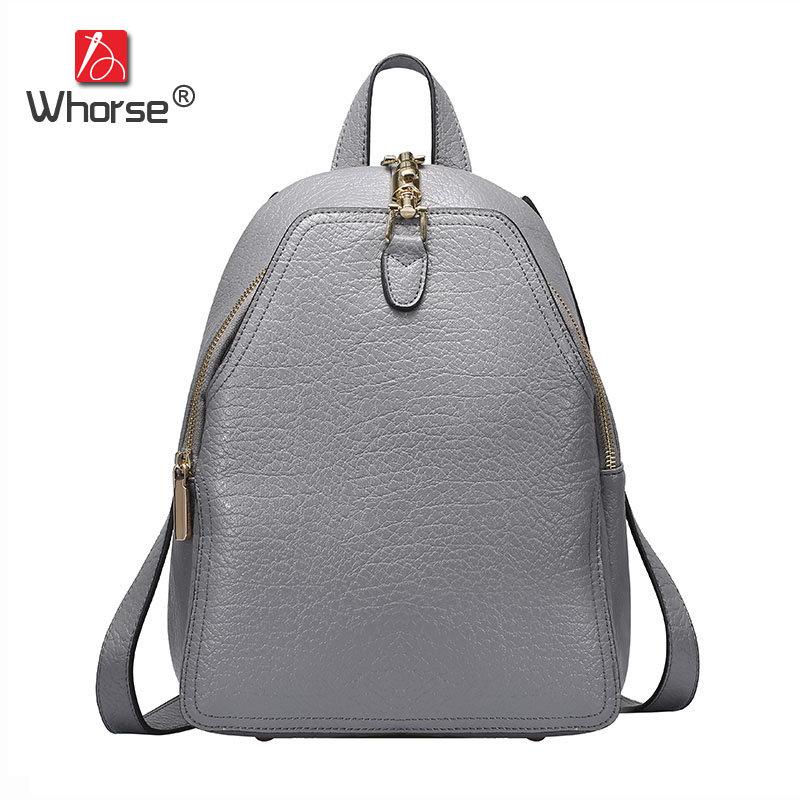 [WHORSE] Brand Luxury Women Backpacks Soft Genuine Leather Bags Shoulder Schoolbags For Girls Female Travel Bag W07520 korean women backpacks travel package black soft pu leather shoulder bag schoolbags for teenage girls female leisure bag mochila