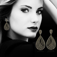 GODKI 61mm Luxury Popular Luxury Geometry Water Drop Full Mirco Paved Crystal Zircon Naija Wedding Earring