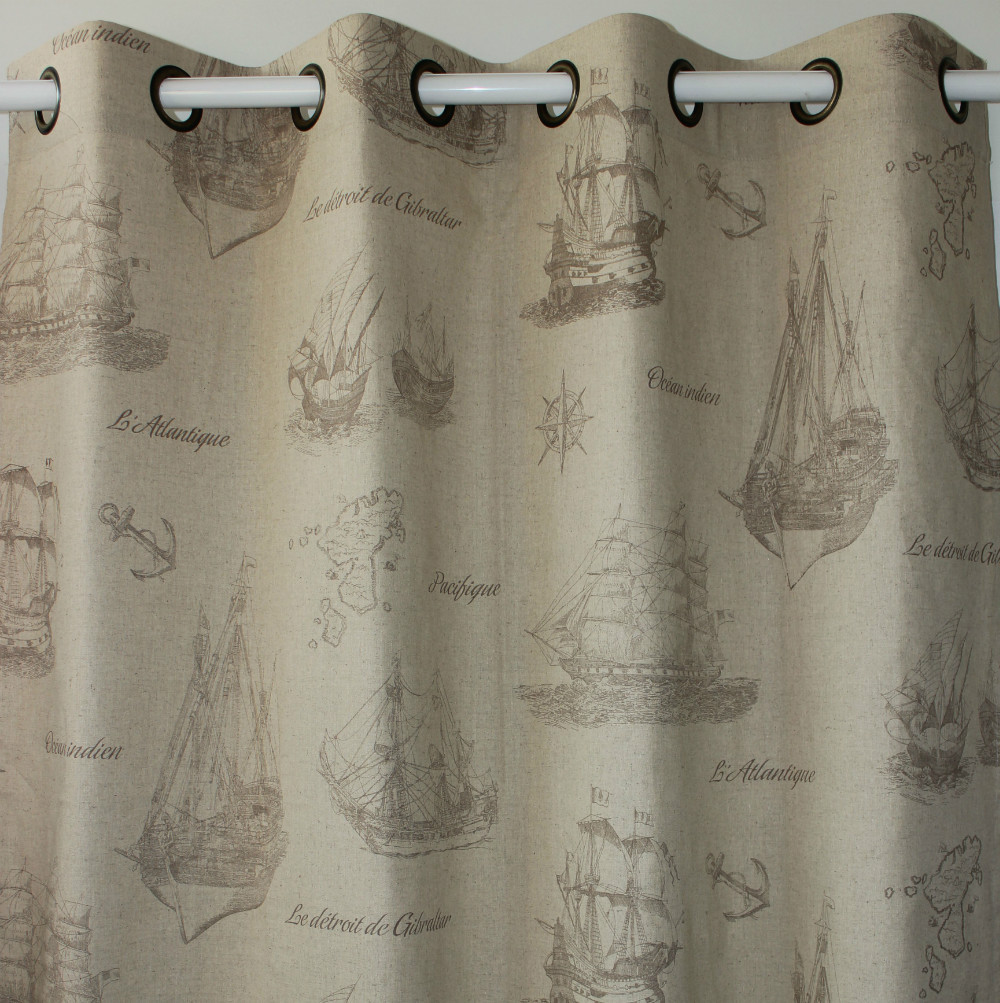 New Light Brown Voyage Sailing Boat Linen Window Ready