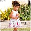 Niosung Fashion Infant Kids Girls Cartoon Print Strap Sleeveless Dress Pleated Leisure Princess Baby Child Clothing v