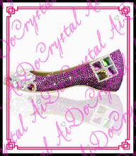 Aidocrystal Beatiful Flat Heel purple Pearl Shoes Comfortable Crystal Bridal Flats Customized Mother of Bride Shoes Plus Size