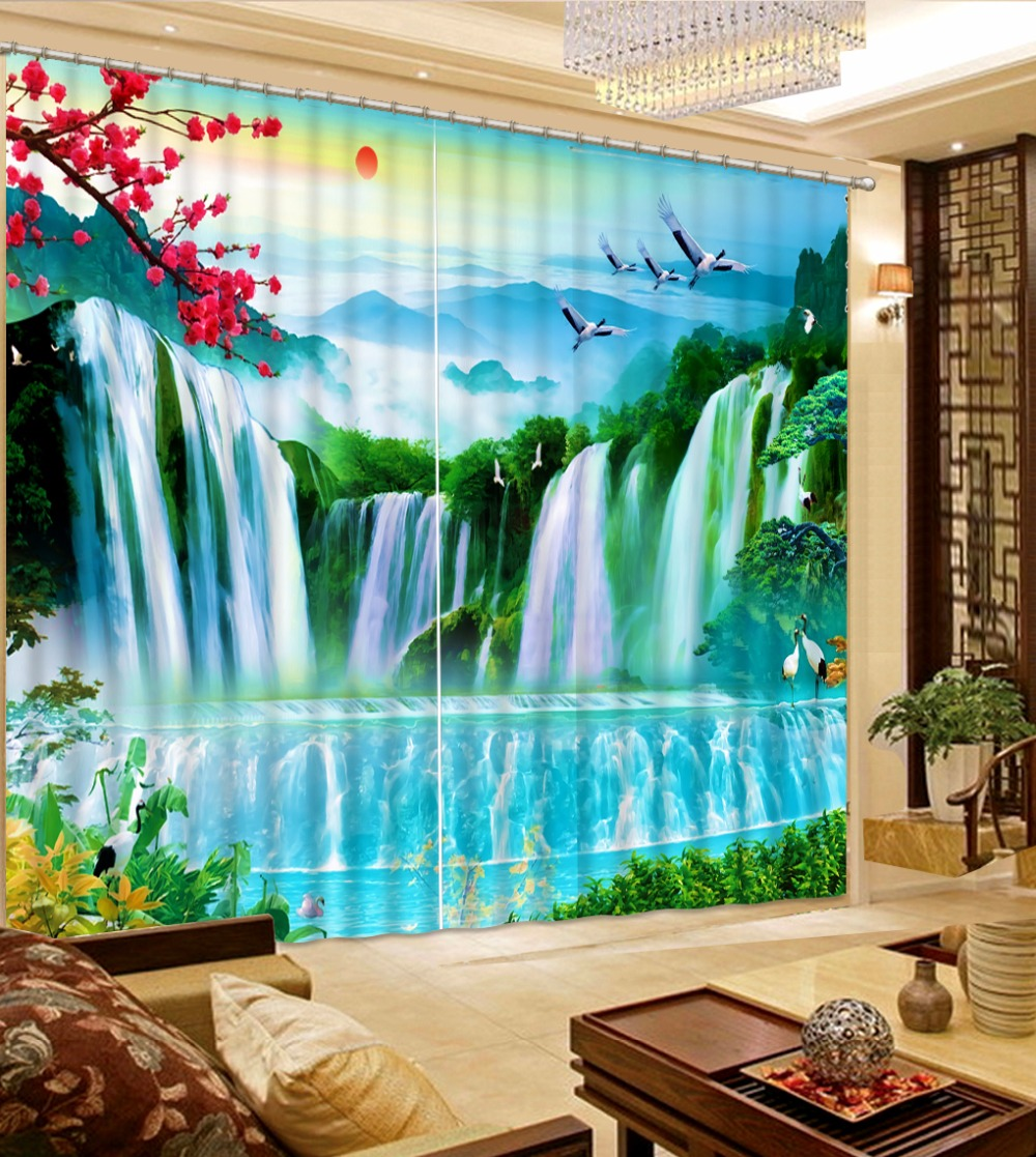 Large Curtains Waterfall Scenery For Living Room Bedroom