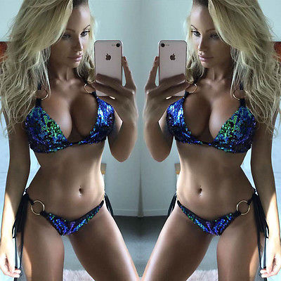 3 Colors Sexy Women Bikini Set 2PCS Sequins Swimsuit Beachwear Swimwear push up monokini Bra 2017 Bathing