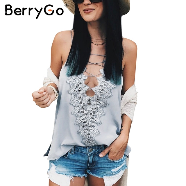 62b3103a36996 BerryGo Casual summer satin lace up cami women Reversible cami lace top  Sexy adjustable strap lining camisole tank top female