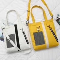 Retalhos saco de compras único ombro preto amarelo lona pano saco zíper reutilizável eco sacola de compras bolsas de tela