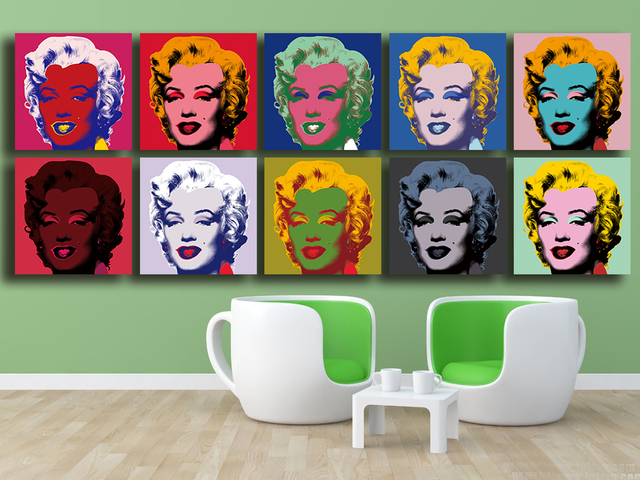 modern living room canvas art color schemes with brown furniture andy warhol 10pc marilyn monroe wall oil painting ...