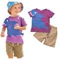 2016 Verão Conjuntos de Roupas Menino de Algodão Tubarão Mangas Curtas T-Shirt + Calças 2 Pcs Roupas Menino Das Crianças Terno