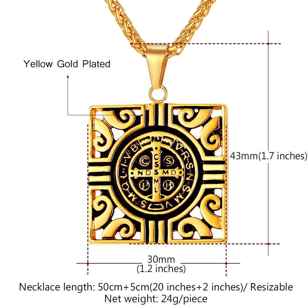 Plac Totem naszyjniki i wisiorki dla mężczyzn ze stali nierdzewnej złoty kolor Medal świętego benedykta krzyż religijny biżuteria P2165G