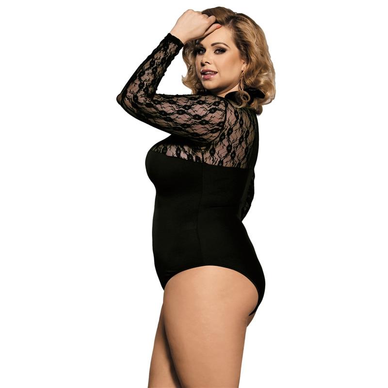 R80372 Stitching Chiffon Floral Long Sleeve Black Lace Mesh Bodysuit 2017 Autumn 3XL Skinny Long Bodysuit See Though Sexy Teddy
