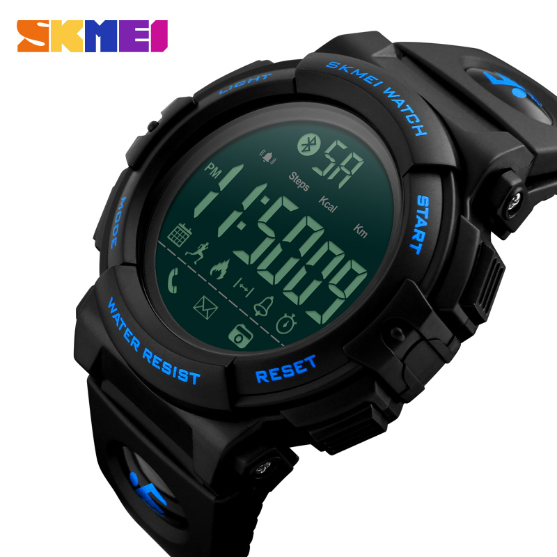 <font><b>SKMEI</b></font> <font><b>1303</b></font> Fashion Bluetooth Smart Watch Outdoor Pedometer Calories Remote Camera Sport Clock Waterproof Digital Man Wristwatch image