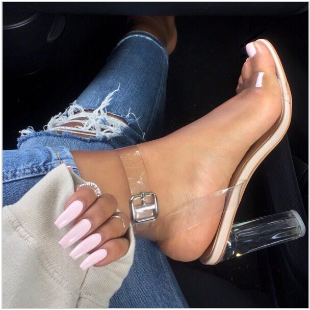 90febc2f50f Kim Kardashian Sexy Perspex Heels Buckle Strap Clear Women Sandals PVC  Transparent Party Shoes Zapato Mujer Free Shipping