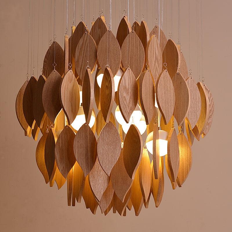High End Modern Nordic Creative Original Ash Wood Led Pendant Light For Living Room Dining Room Entrance Decor Lights 1810