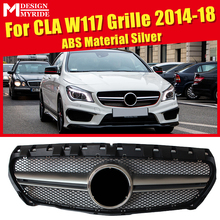 For MercedesMB W117 CLA Sport Grille Grill ABS Silver +Two Fin Chrome Without Sign CLA180 CLA200 CLA250 CLA45 Look Grills 14-18
