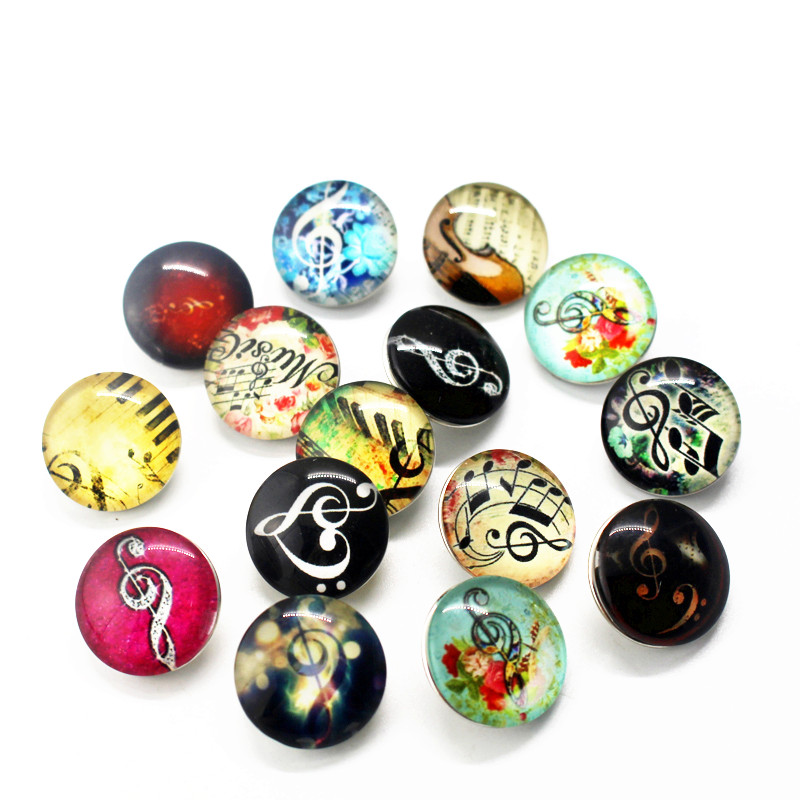 New Arrive Mix 10pcs note Snaps Buttons 18mm Glass musical notation Snaps Charms Fit Ginger Snaps Bracelets&Bangles Jewelry