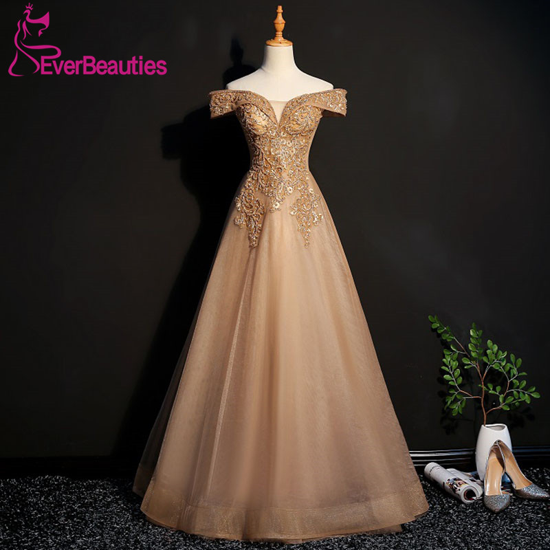 Evening Dresses Long 2019 Sweetheart Tulle Appliques Beading Elegant Party Gowns Evening Gowns Robe De Soiree