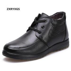 Image 2 - 2020 New Lace up Winter Shoes Men Boots Warm Shoes Thickened Wool Snow Boots Men Shoes Casual Non slip Real Leather Boots Black