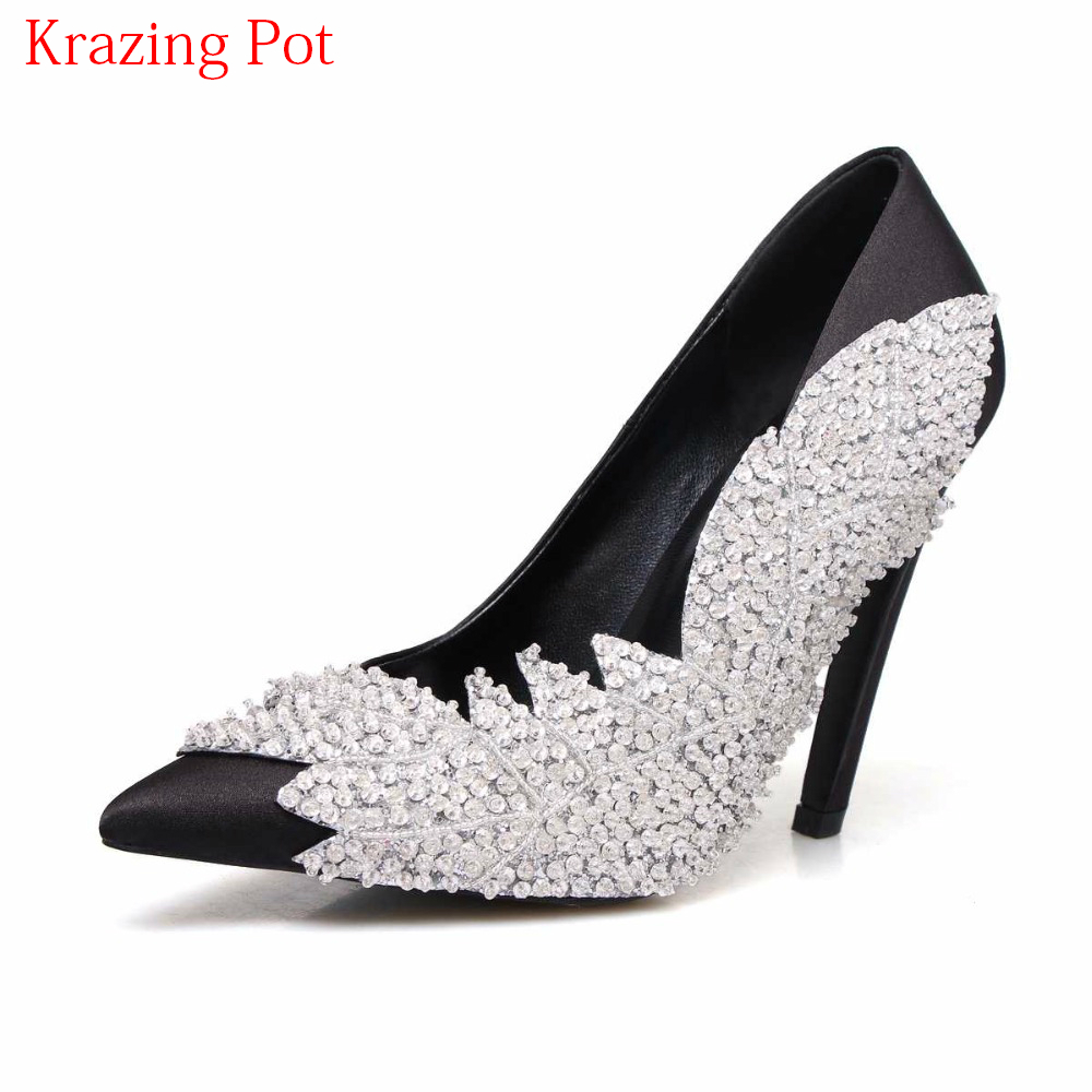 2018 Nightclub Pointed Toe Silk High Heels Stiletto Gladiator Party Wedding Shoes Crystal Beading Women Pumps Luxury Shoes L16 ladies red shoes 2018 spring patent cross straps gladiator pointed toe sandals women high heels party wedding pumps shoes 43