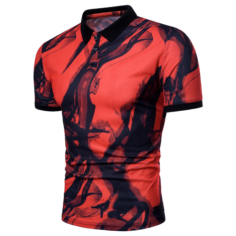 Fashion Brand Male   Polo   Shirt Printing ink smoke Short-Sleeve Slim Fit Shirt Summer Men   Polo   Shirts breathable Casual   Polo   Homme