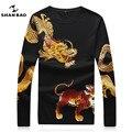 Мужская мода трикотаж личность животных печати стразами осень высокое качество тонкий свитер воспитать в себе мораль