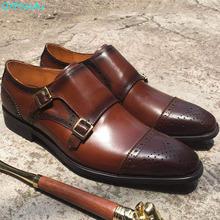 2019 New Design Belt Buckle Square Head Men Formal Shoes High Quality Men Dress Shoes Business Double Monk Strap Shoes