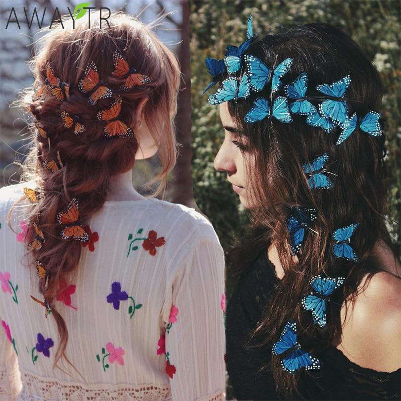 AWAYTR Handmade Simulation Butterfly Wedding Headwear Hairpins DIY Gift For Girl Beautiful Hair Clip Hair Decor Hair Accessories
