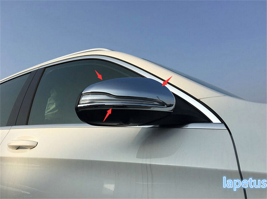 Lapetus Side Rearview Mirrors Cap Decoration Cover Trims Exterior Kit Chrome For Mercedes Benz GLC X253 2016 2017 2018 2019 ABS
