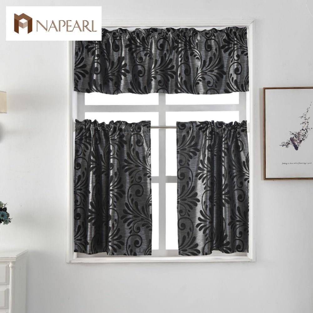 Good Short Kitchen Curtains Jacquard Window Treatments Modern Cafe Curtain Panel  Ready Made Luxury European Style Rod