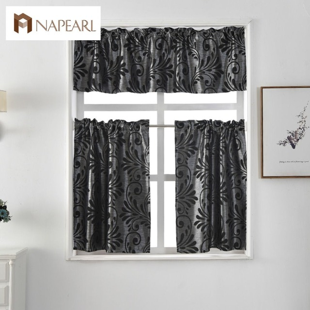 US $6.53 49% OFF|Short kitchen curtains jacquard window treatments modern  cafe curtain panel ready made luxury European style rod pocket black-in ...