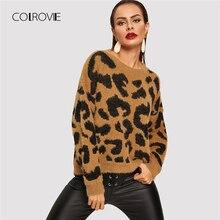 ac0aeaaa509b1b COLROVIE Drop Shoulder Leopard Print Fluffy Work Wear Winter Knitted Sweater  Women Fashion Long Sleeve Pullovers