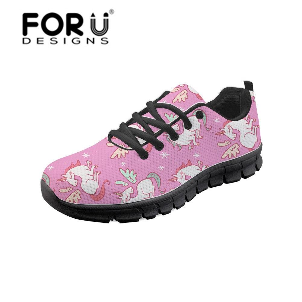 FORUDESIGNS Kawaii Unicorn Pattern Vulcanize Shoes Female Tenis Feminino Summer Fashion Breathable Sneakers Women Flat Wholesale