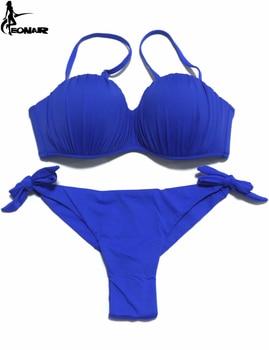 EONAR Push-Up Bikini Top Falten Frauen Badeanzug Abnehmbare Schulter Riemen Brazilian Bikini Set Tanga Unten Bademode Badeanzüge