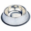Bling Bling Crystal Rhinestones Metal Stainless Steel Single Diner  Pet Feeder Puppy Cats Doggy Eating Bowl Multi Size Color