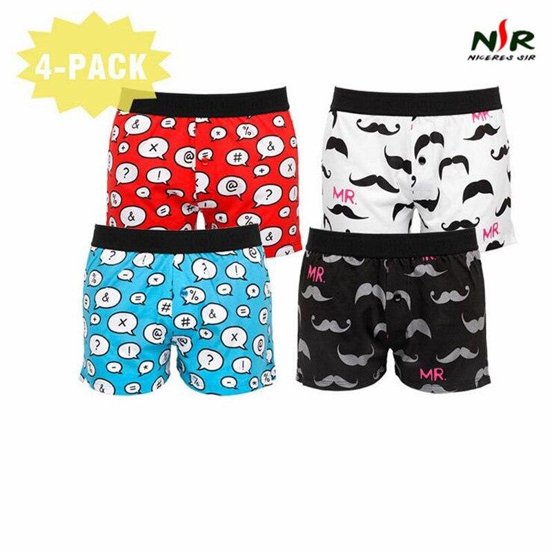 PINK HEROES 4 pcs / lot Men Underwear Boxers Panties Fashion Cartoon Print Home Mens Underwear Cotton Plain Weave Pants Shorts