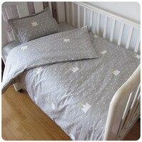 Free Shipping 3 Pcs Set Crib Bedding Set 100 Cotton Baby Bedding Pink Bear Clouds Black