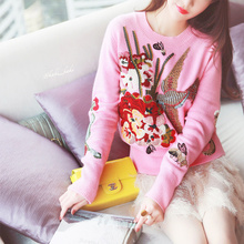 Women Sweater O-neck Sweater Pullover Real Limited 2017 Spring Heavy Staple Neck Diamond Embroidery Round Collar Knitted Rabbit