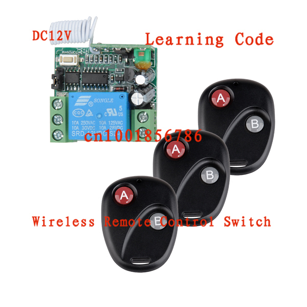 Wireless RF Remote Control Switch DC 12V 10A 1CH 3PCS Transmitter With Battery+ Receiver Access/door System