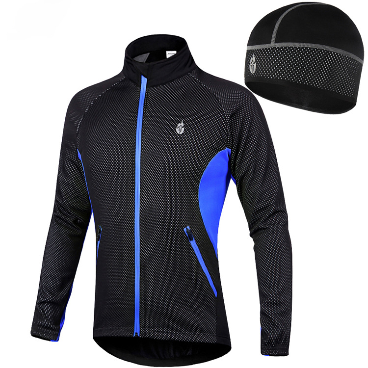 все цены на Windproof Cycling Jackets Cap Set Men Women Waterproof Riding Cycle Clothing Fleece Warm Hat Bike Long Sleeve Jacket Wind Coat
