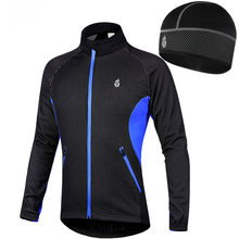 Windproof Cycling Jackets Cap Set Men Women Waterproof Riding Cycle Clothing Fleece Warm Hat Bike Long Sleeve Jacket Wind Coat(China)