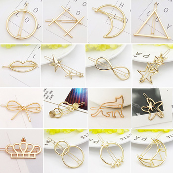 Fashion Woman Gold/Silver Plated Metal Triangle Circle Moon Hair Clip Pins Accessories Geometric Alloy Girls Hairgrips Barrettes