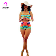 Adogirl Stripe Women Sexy 2 Piece Set Hot Shorts Summer Beach Colorful Rainbow Bow Crop Top + Swimwear Outfits