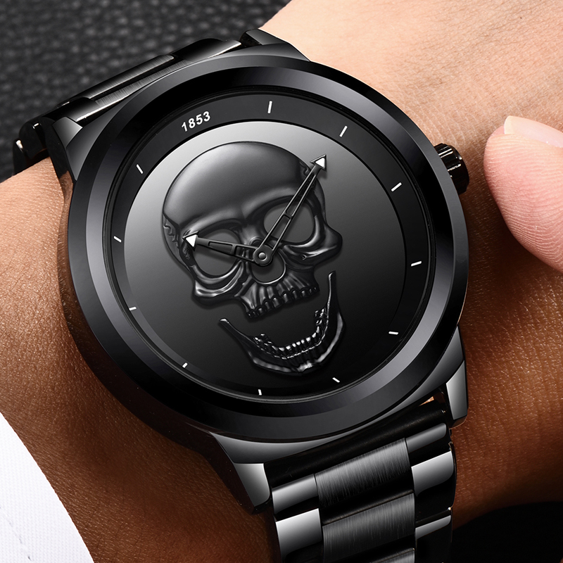 9ba290e92cc 2018 Crânio Do Punk Legal 3D LIGE Men Watch Marca de Luxo Aço Quartz  Masculino Relógios À Prova D  Água Relógio de Ouro Da Moda Retro Preto  relogio em ...